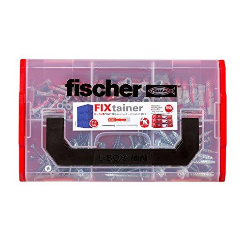 fischer FIXtainer DUOPOWER mit Schraube, Dübelbox mit 210 Schrauben & DUOPOWER Dübeln